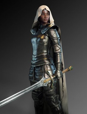 Female Knight In Armor With Sword and Hooded Cloak