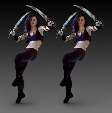 Urban Fantasy Fighter or Assassin Woman, Duo with Clean and Dirty Textures