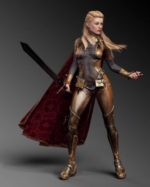 Fantasy Knight Mage in Leather Armor and Cloak, Sword and Long Blonde Hair stock vector