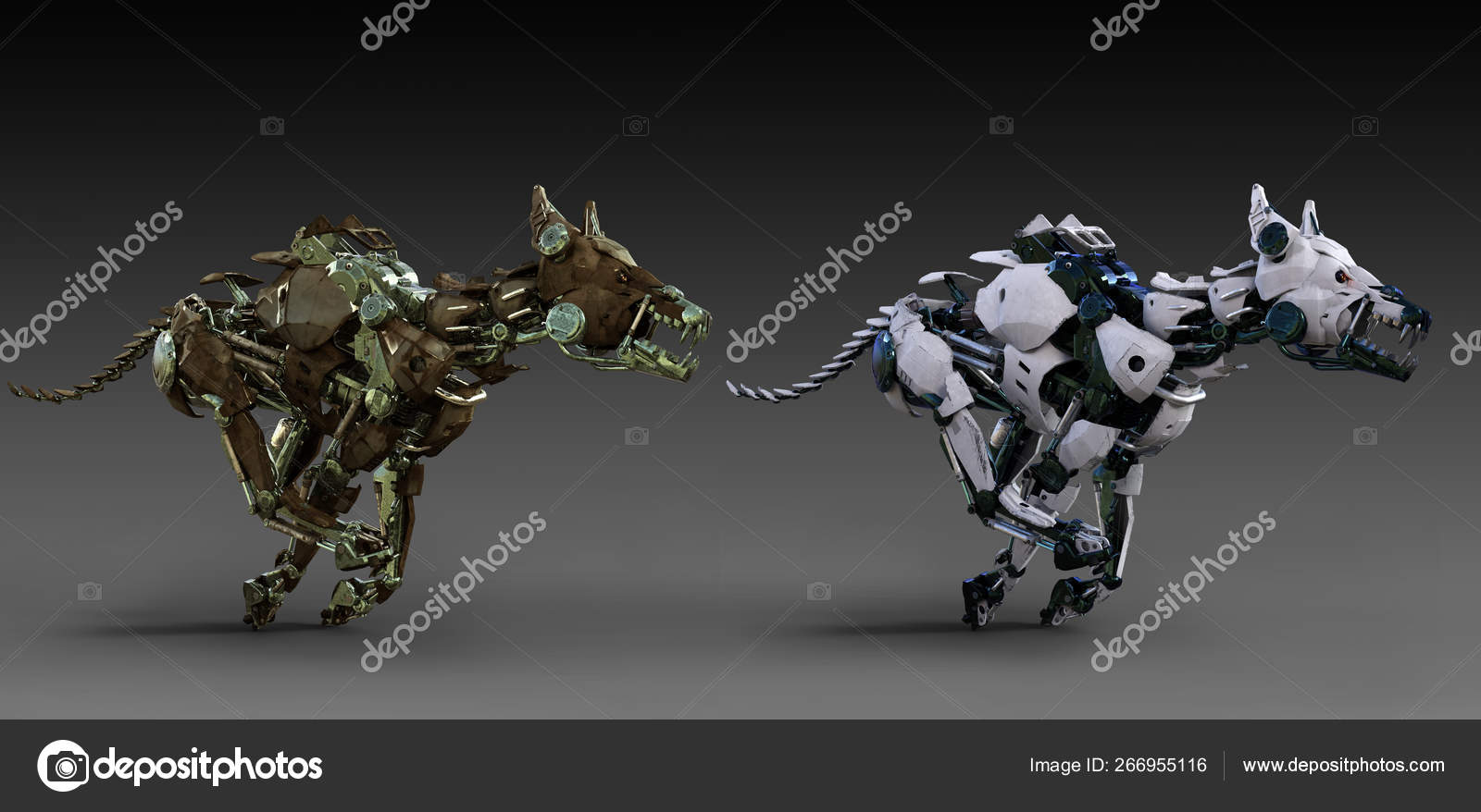 Sci Mecha Robot Dog Two Colors Running Stock Photo