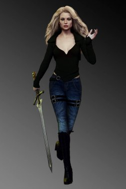 Urban Fantasy Blonde Woman with Sword in Jeans and Black Jacket