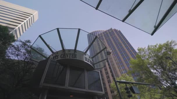 Uptown Charlotte, skyscrapers, North Carolina Cityscape, UA, Sep 2016, tracking shot