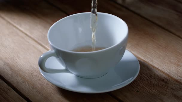 view of a cup of tea on wooden table