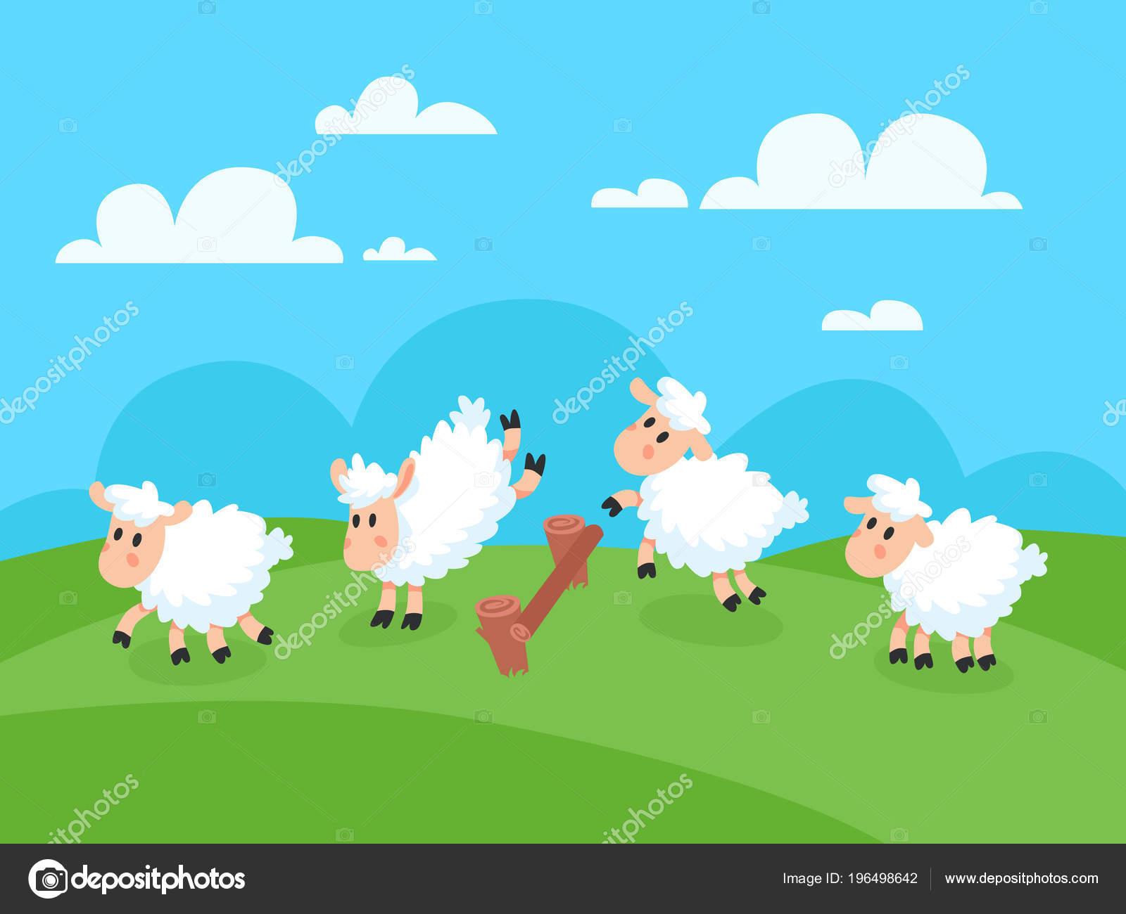 Vettore Divertenti Per Insonnia Contando Le Pecore Che