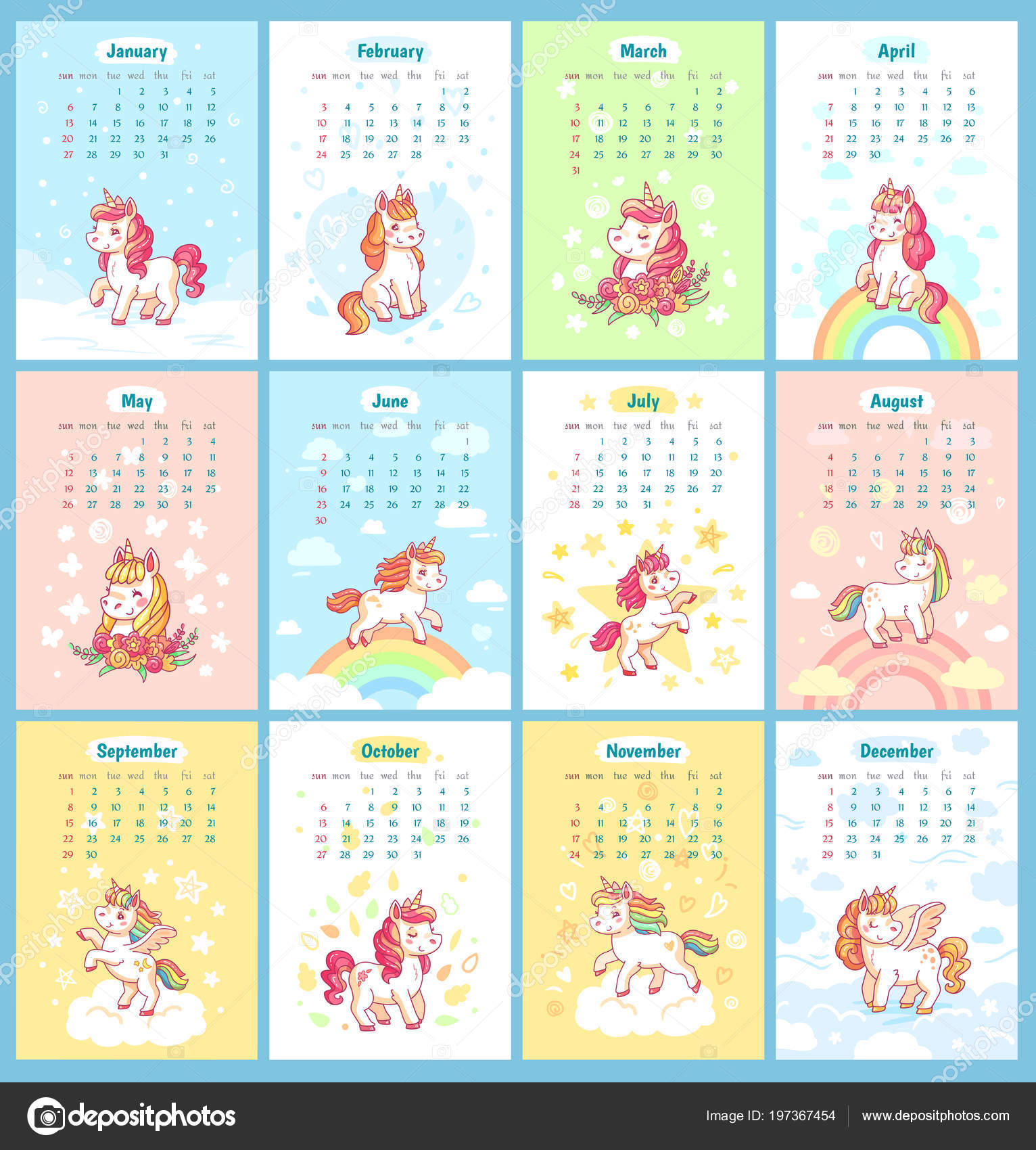 Calendario Para Kinder 2019.Sweet Cute Magic Unicorn 2019 Calendar For Kids Fairy