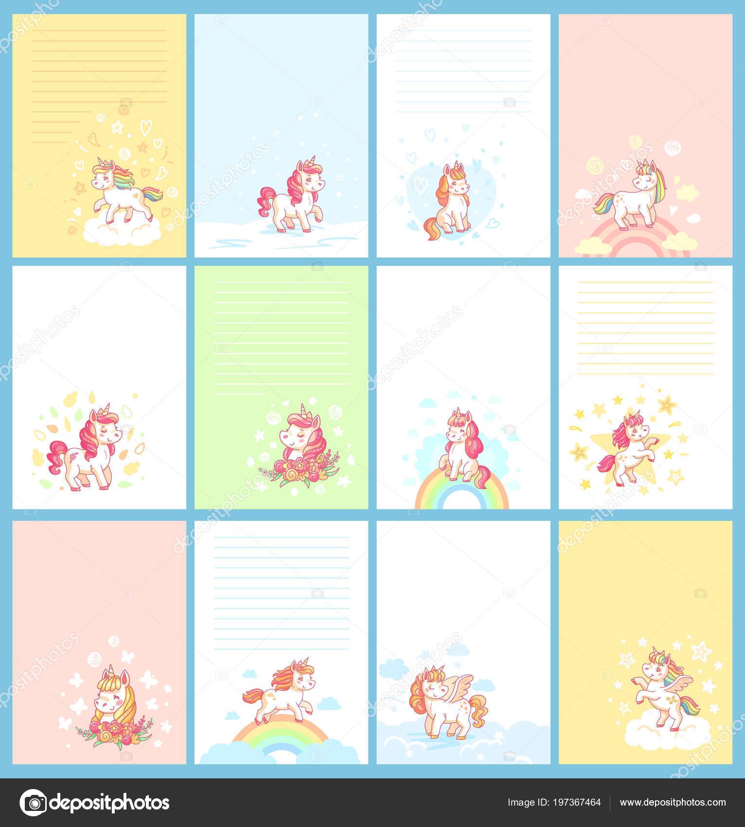 Unicornio lindo mágico dibujos animados una plantilla para ...