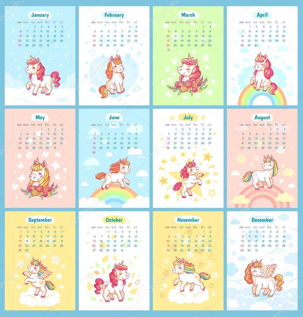 calendario de unicornio m u00e1gico lindo dulce 2019 para ni u00f1os