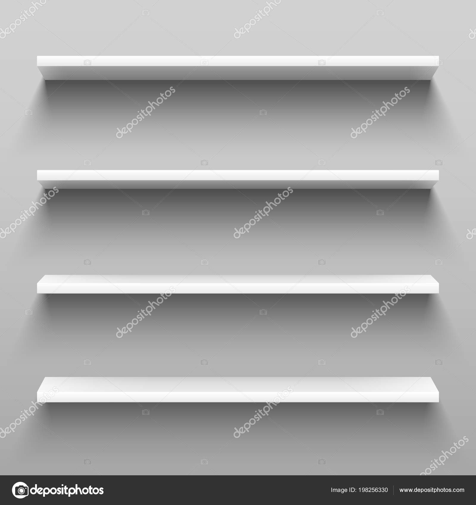 Empty White Shelves For Home Shelving Furniture Realistic Group Of Racks Storage Shelf With