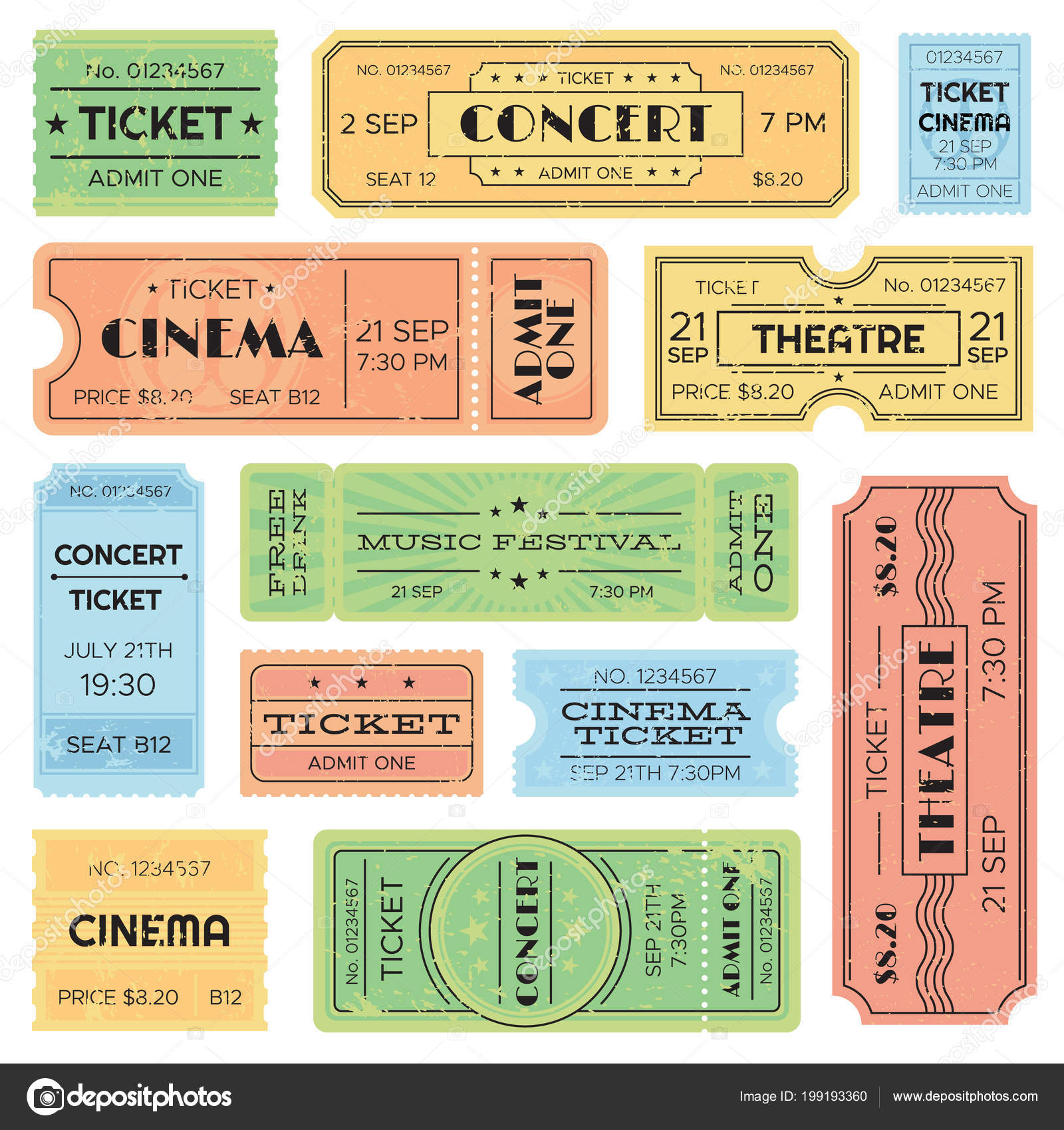 vintage admitted cinema music festival pass train ticket isolated