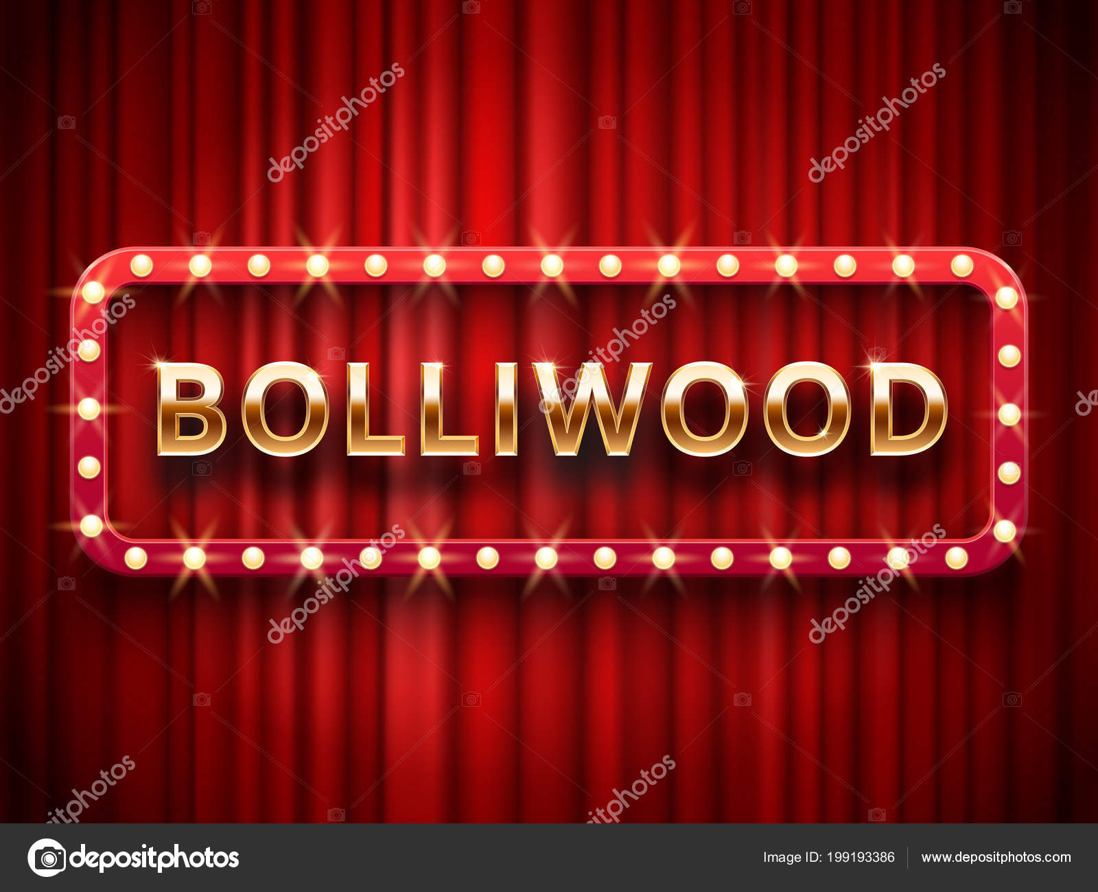 Vintage Indian Movie Cinematography And Theater Poster Welcome Neon Retro 3d Classic Film Posters Board Gold Logo On Red Curtains Background Realistic