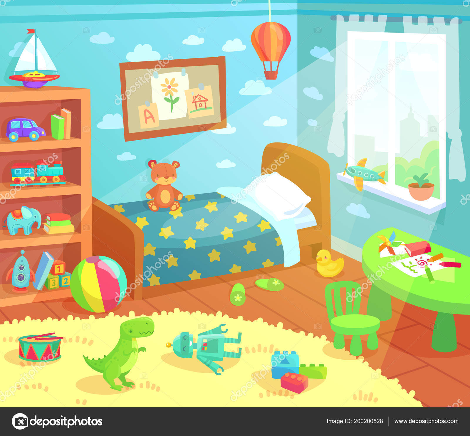 Intérieur de chambre à coucher dessin animé enfants. Maison ...