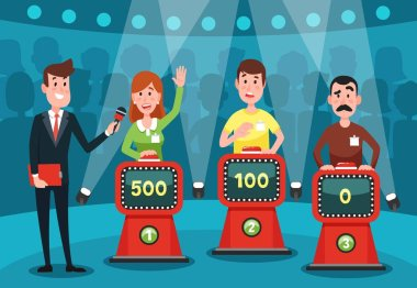 Young people guessing quiz questions. Intellectual game show studio with buttons on stands vector illustration