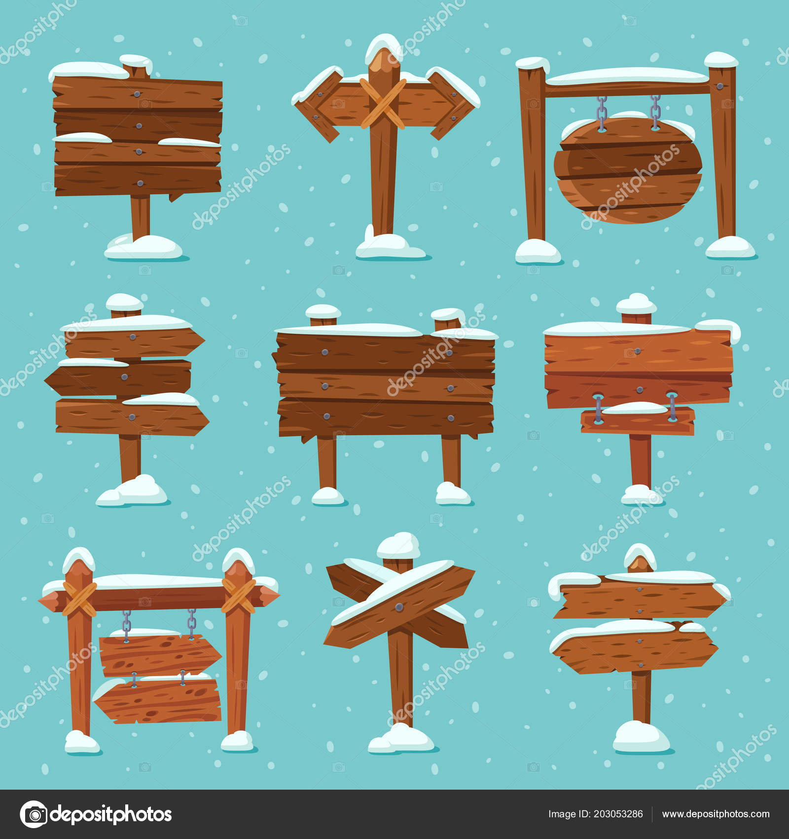 Christmas Arrow Signs.Cartoon Snowed Signpost Christmas Wooden Signpost With