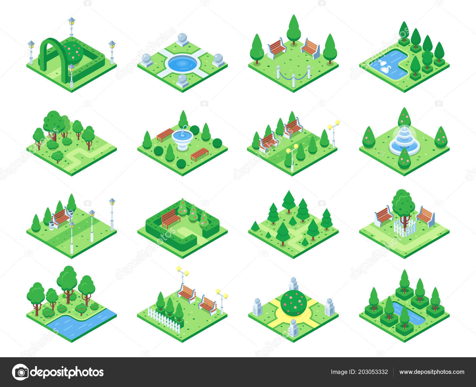 Nature Forest Elements Plants Symbol And Green Trees For City 3d