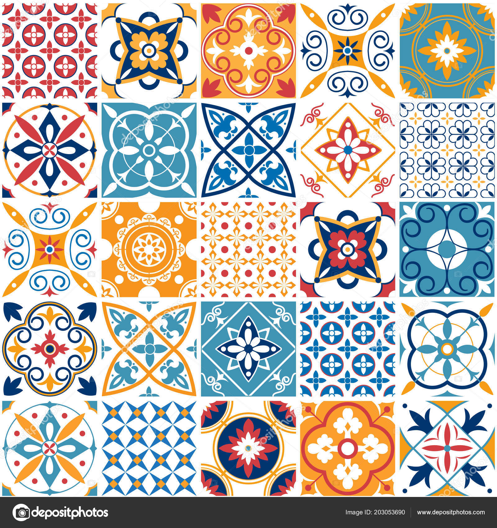 Portugal seamless pattern. Vintage mediterranean ceramic tile ...
