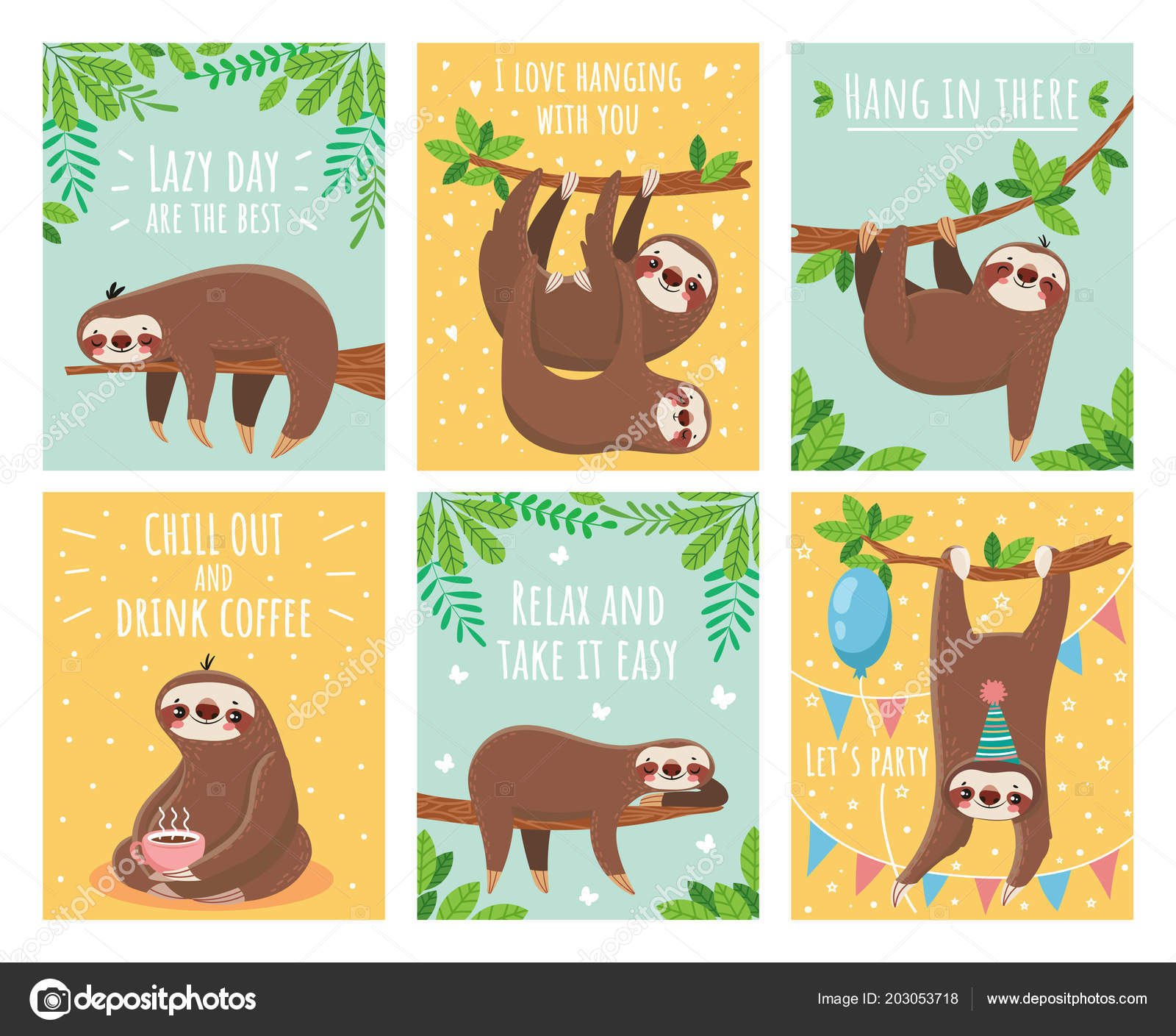 Greeting Card With Lazy Sloth Cartoon Cute Sloths Cards With