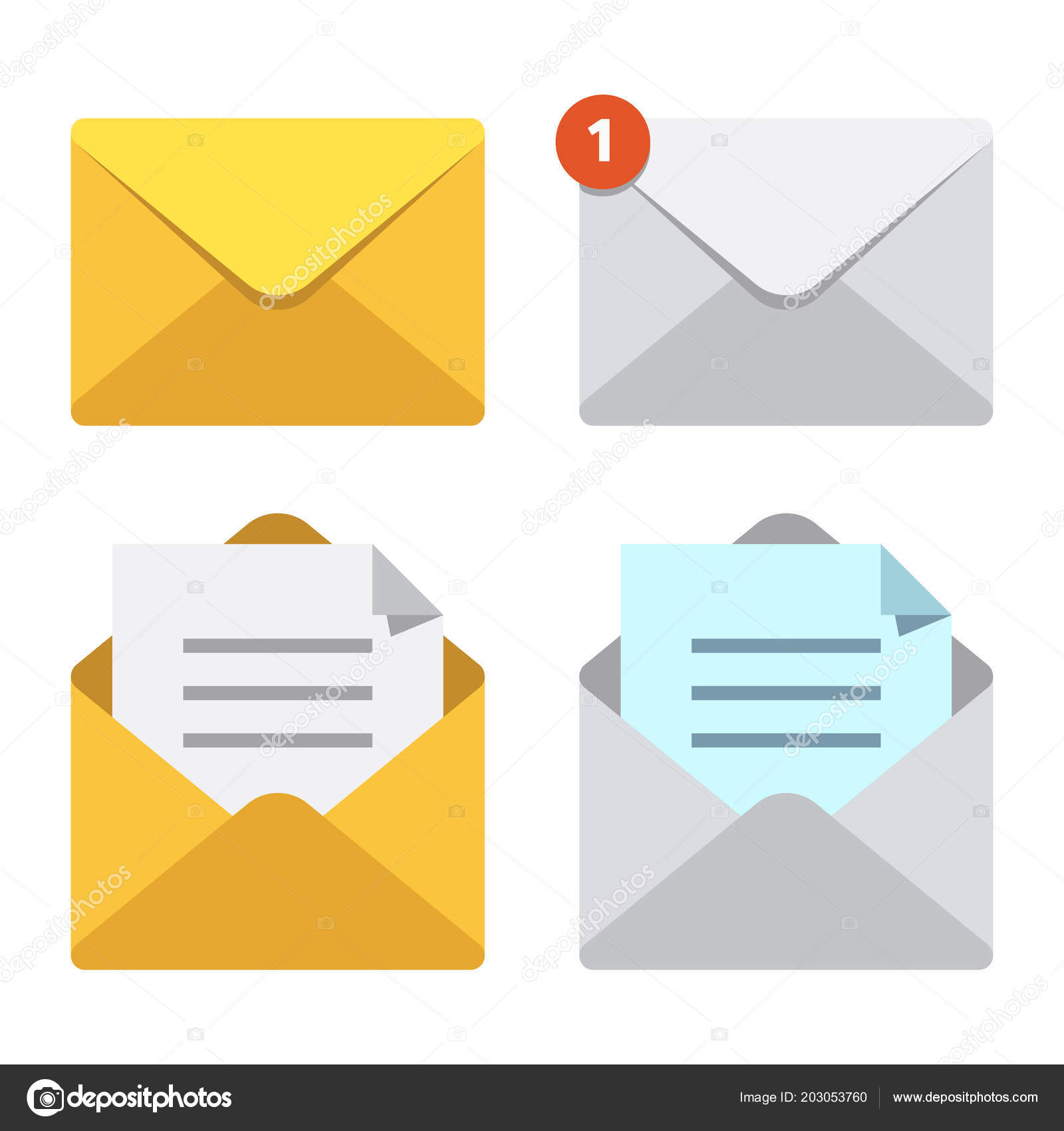 Closed Mailbox Intended Letter In Mail Envelope Mailbox Notification Or Email Message Icons Open Closed Letters Icons