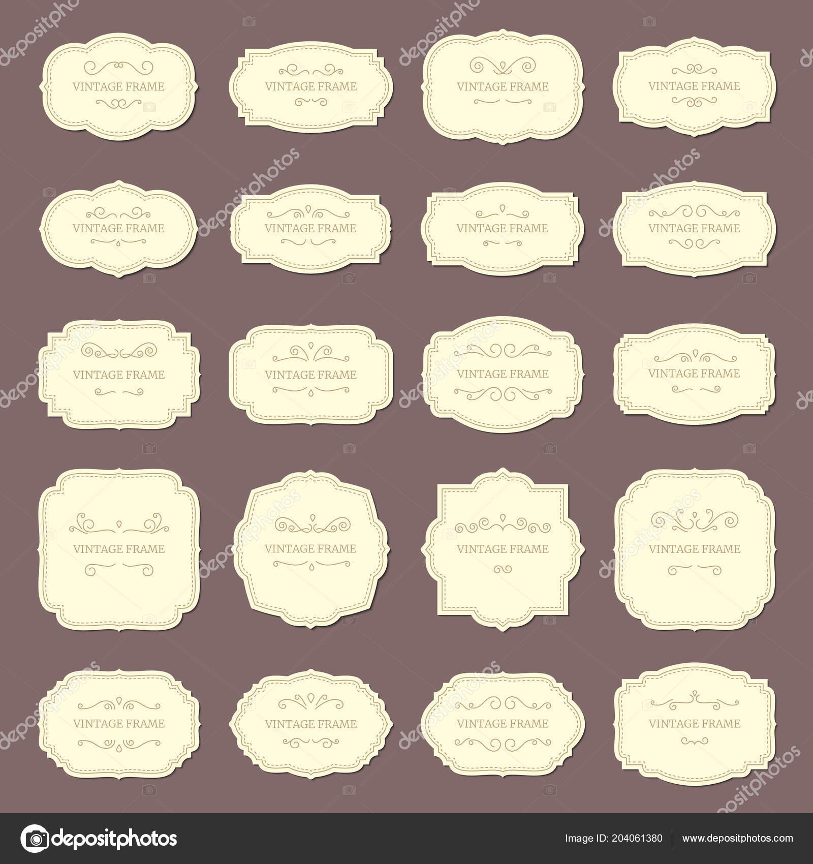 vintage frame labels rectangle and oval wedding frames antique