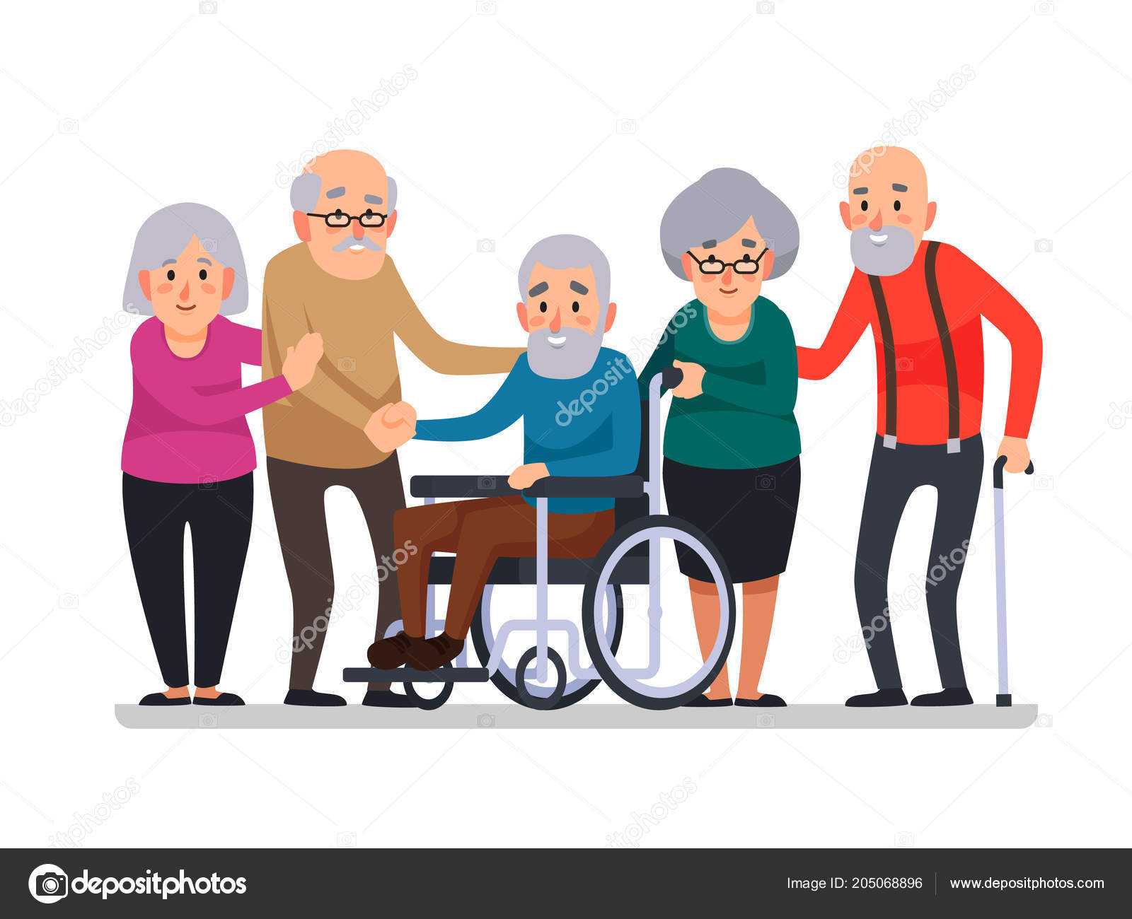 Image of: Scooter Cartoon Old People Happy Aged Citizens Disabled Senior On Older Wheelchair And Care Seniors Smiling Elder Age Couple Elderly Citizen Happy With Cane Depositphotos Cartoon Old People Happy Aged Citizens Disabled Senior On