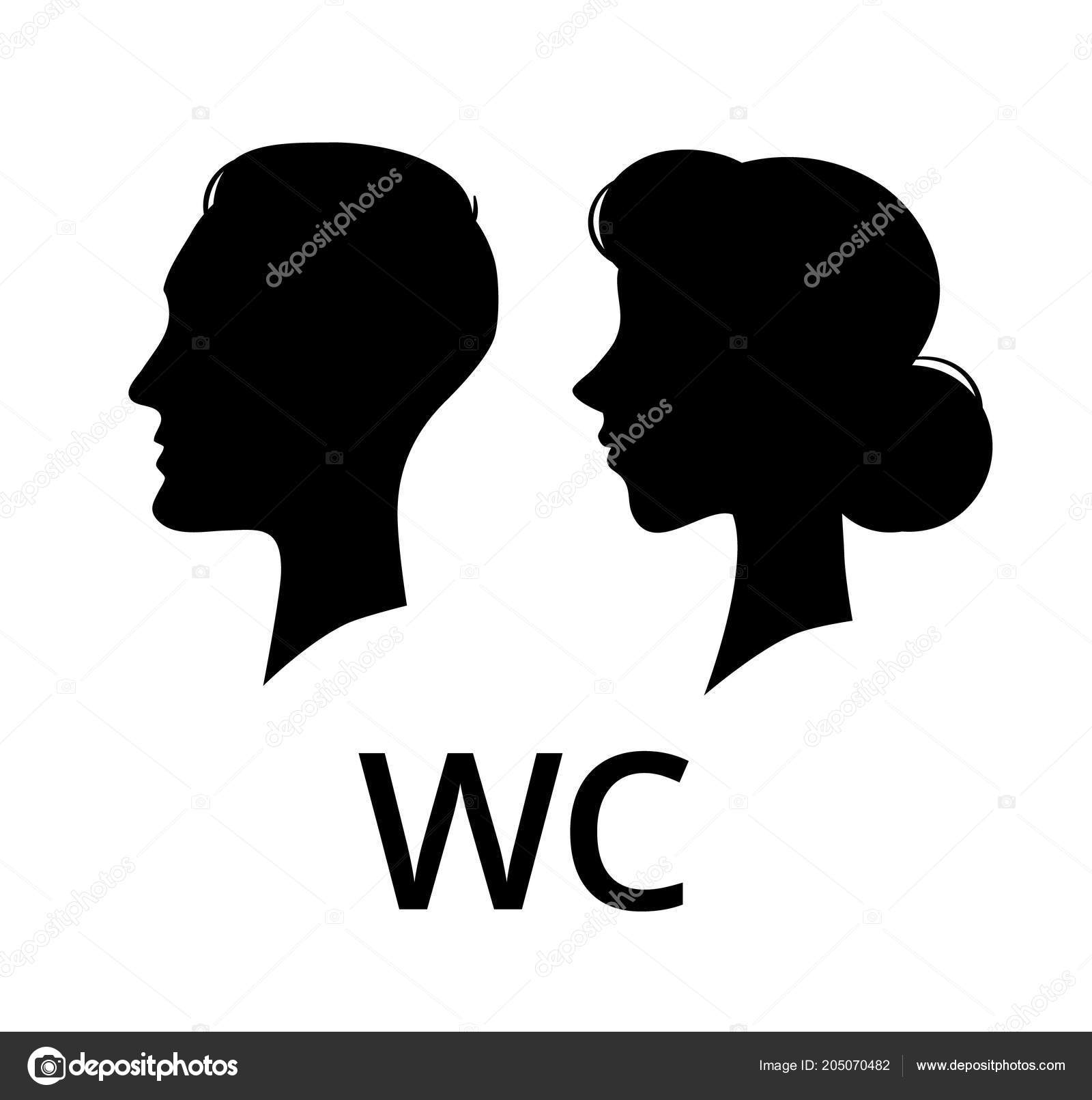 WC Toilet Sign. Male And Female Face