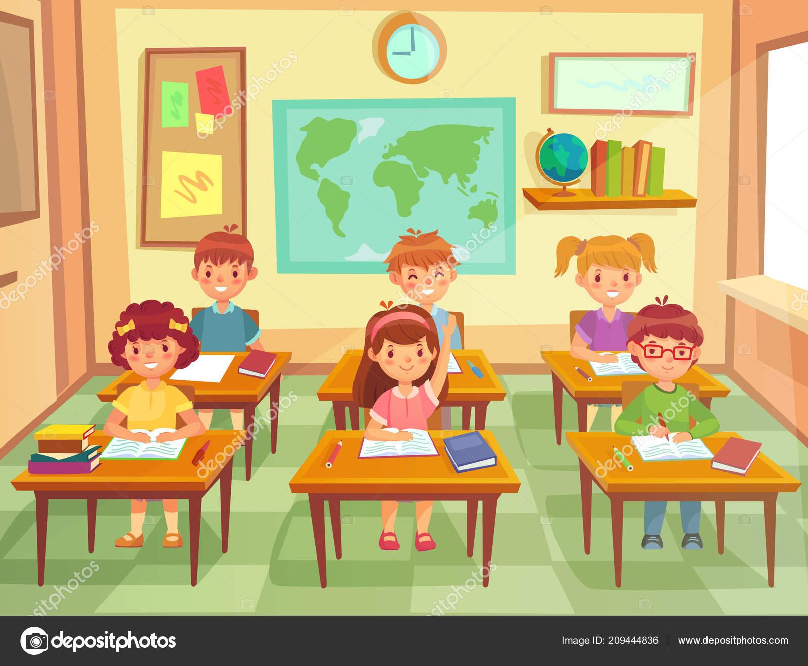 Enfants d l ve en salle de classe enfants l ves du primaire souriant gar ons et filles - Dessin classe ...