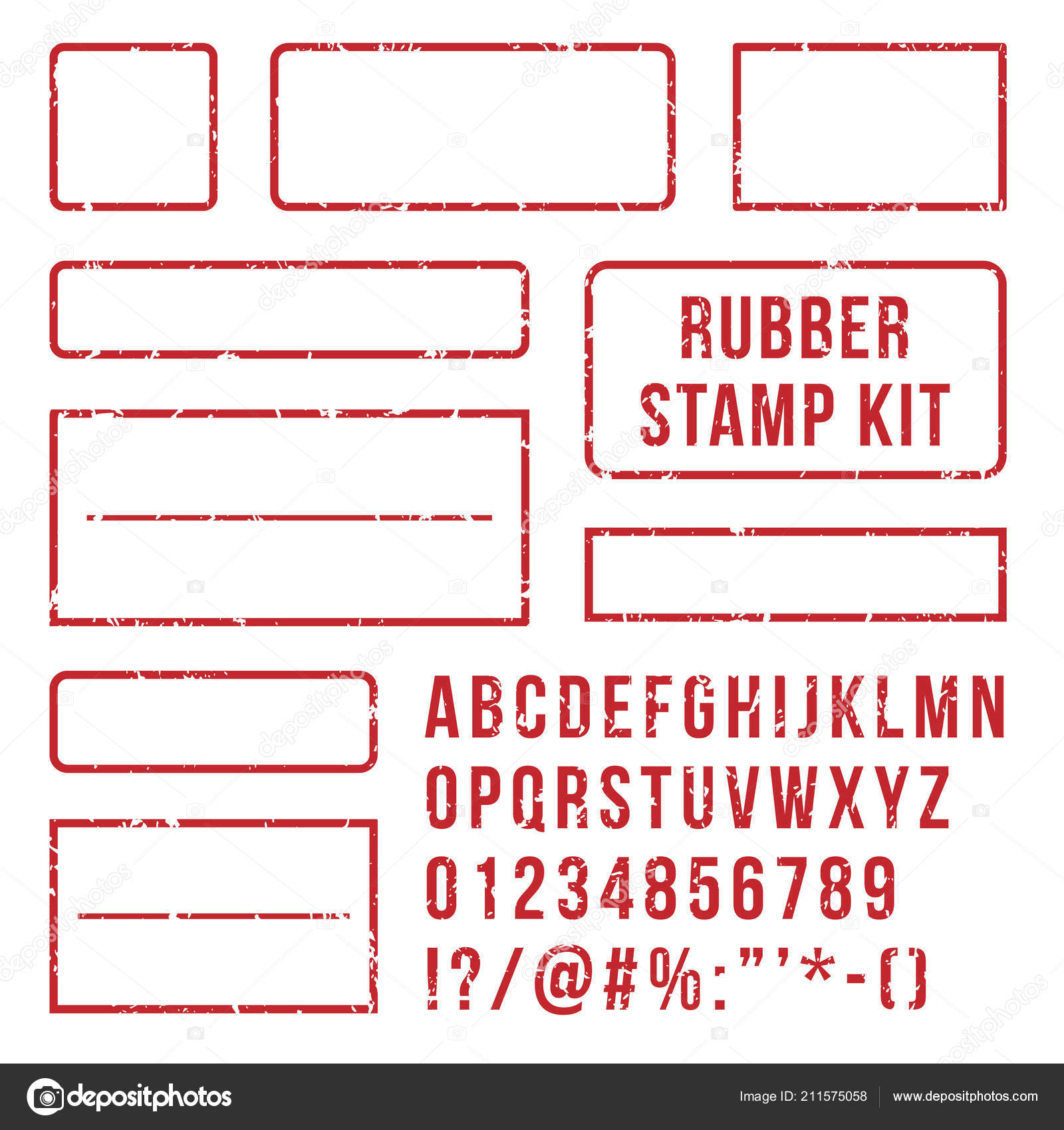 Rubber Stamp Letters Red Stamps Frame And Letterpress Symbols With