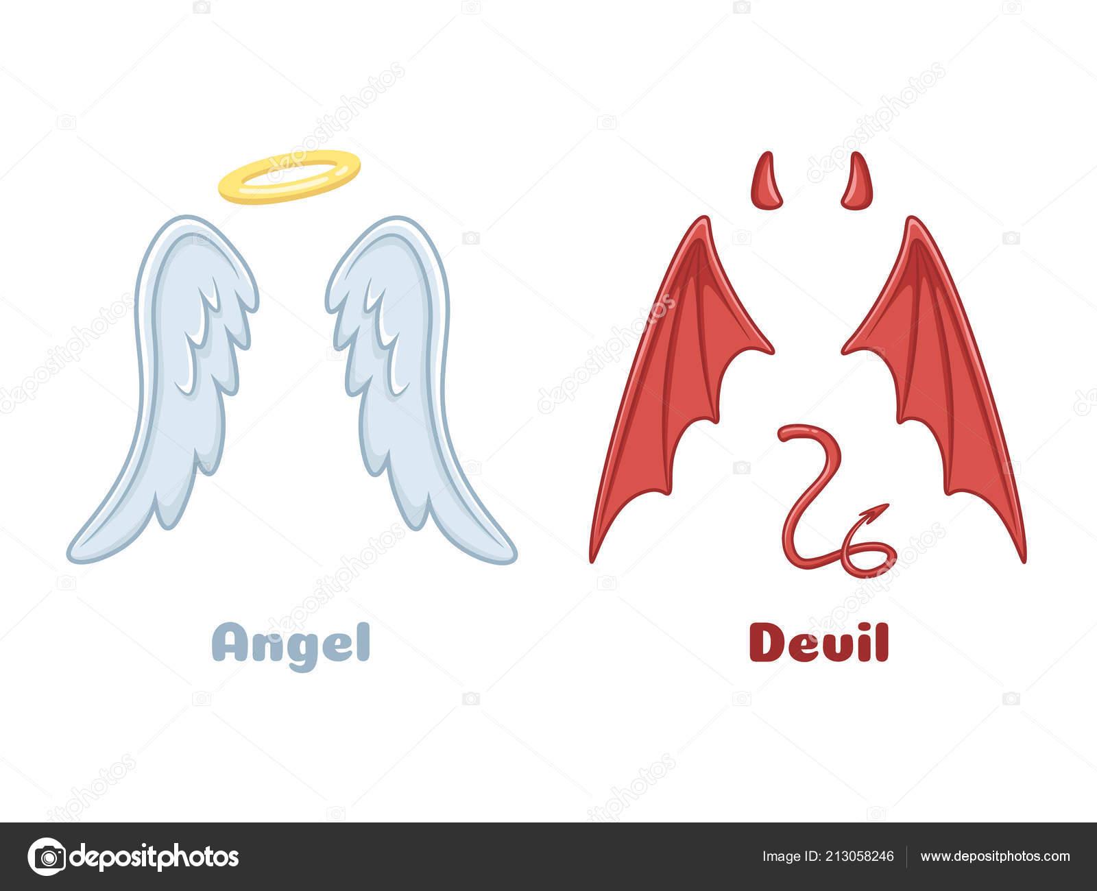 Alas De Ángeles Y Demonios. Dibujos Animados Malvado