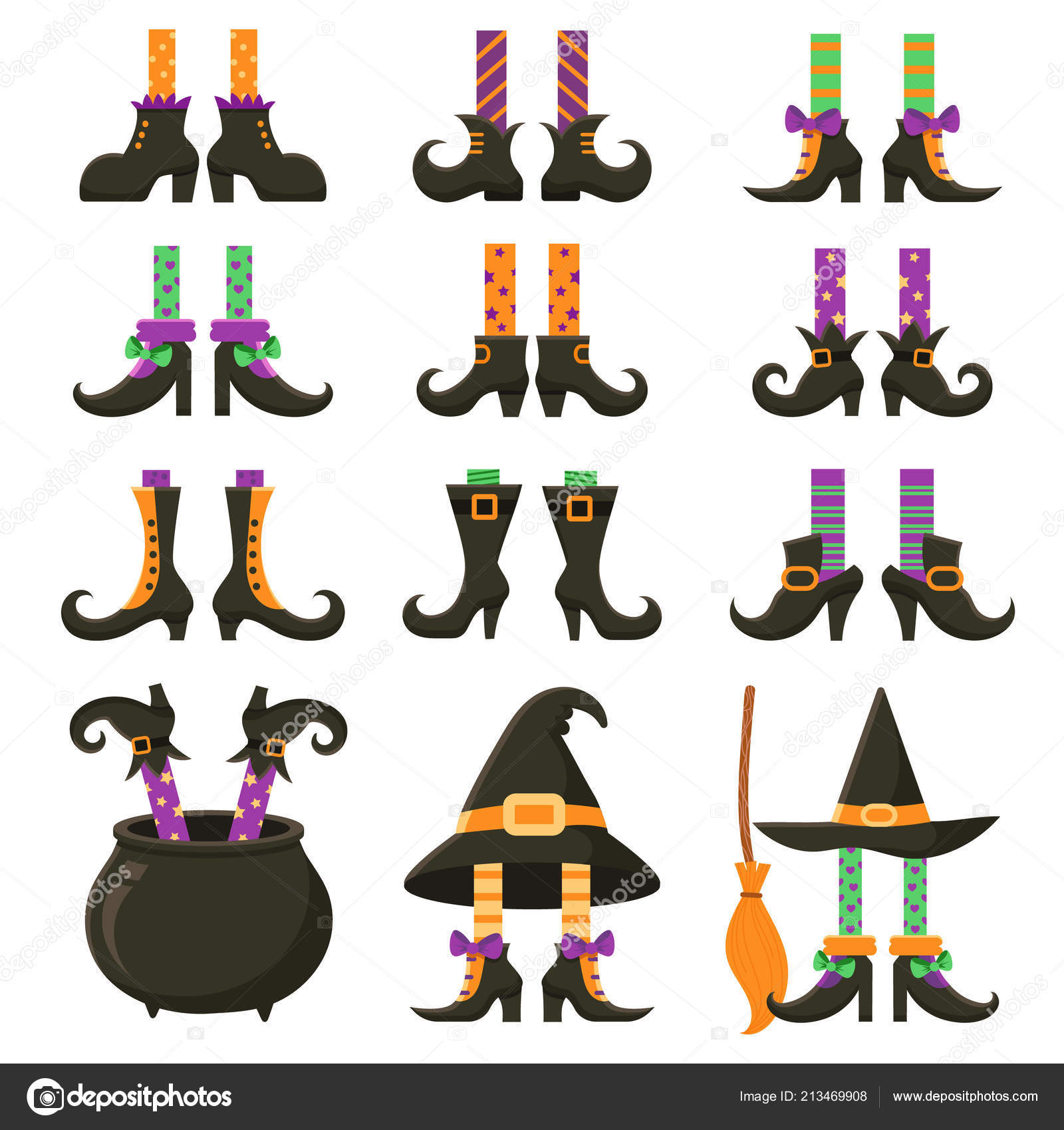 Halloween witches leg stockings and striped dress socks with broom. Vintage witchcraft cauldron and feet boots for party invitation card, cartoon vector ...