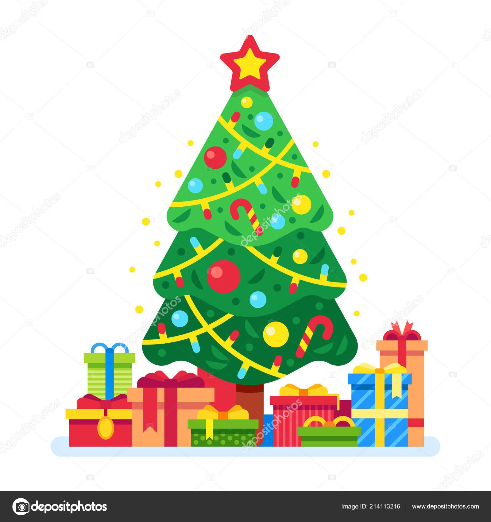 Traditionelle Weihnachtsgeschenke.Weihnachtsbaum Und Geschenkboxen Weihnachtsgeschenk Unter Grüne