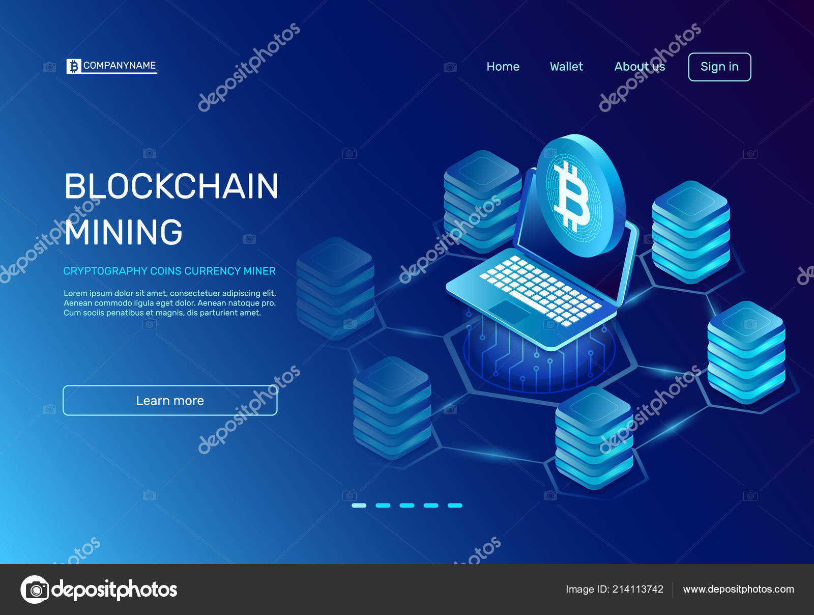 Blockchain Mining Cryptography Coins Currency Miner On Laptop E Commerce Block Diagram Payment Ethereal Mine Connected To Bitcoin Farms Network Crypto World Business Banking