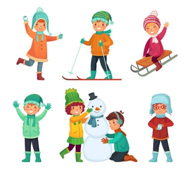 Cartoon winter kids. Children play in winters holiday, sledding and making snowman and snowball. Childrens characters, child playing cold snow holidays Xmas game vector isolated icons set stock vector