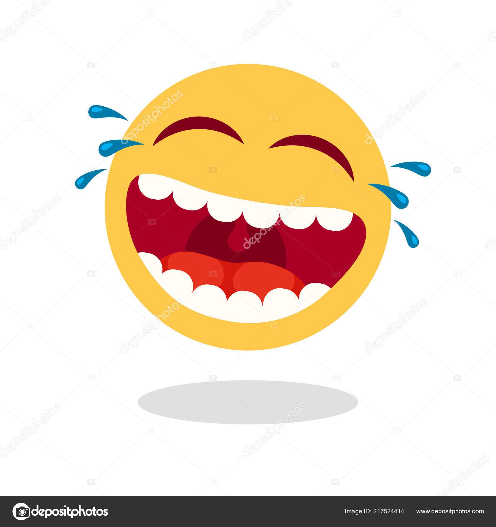 Lachender Smiley Emoticon Cartoon Glückliches Gesicht Mit Lachenden