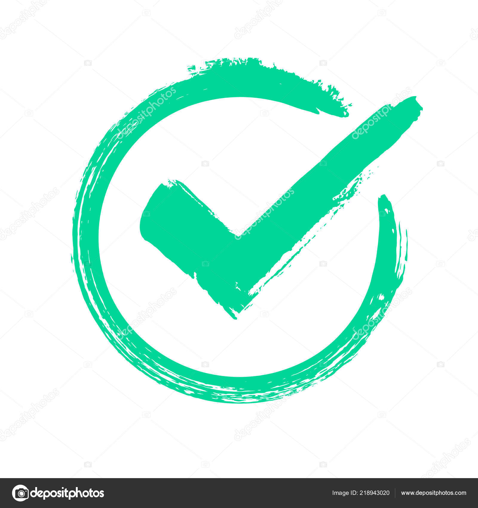 green grunge check mark correct answer checking vote or choice