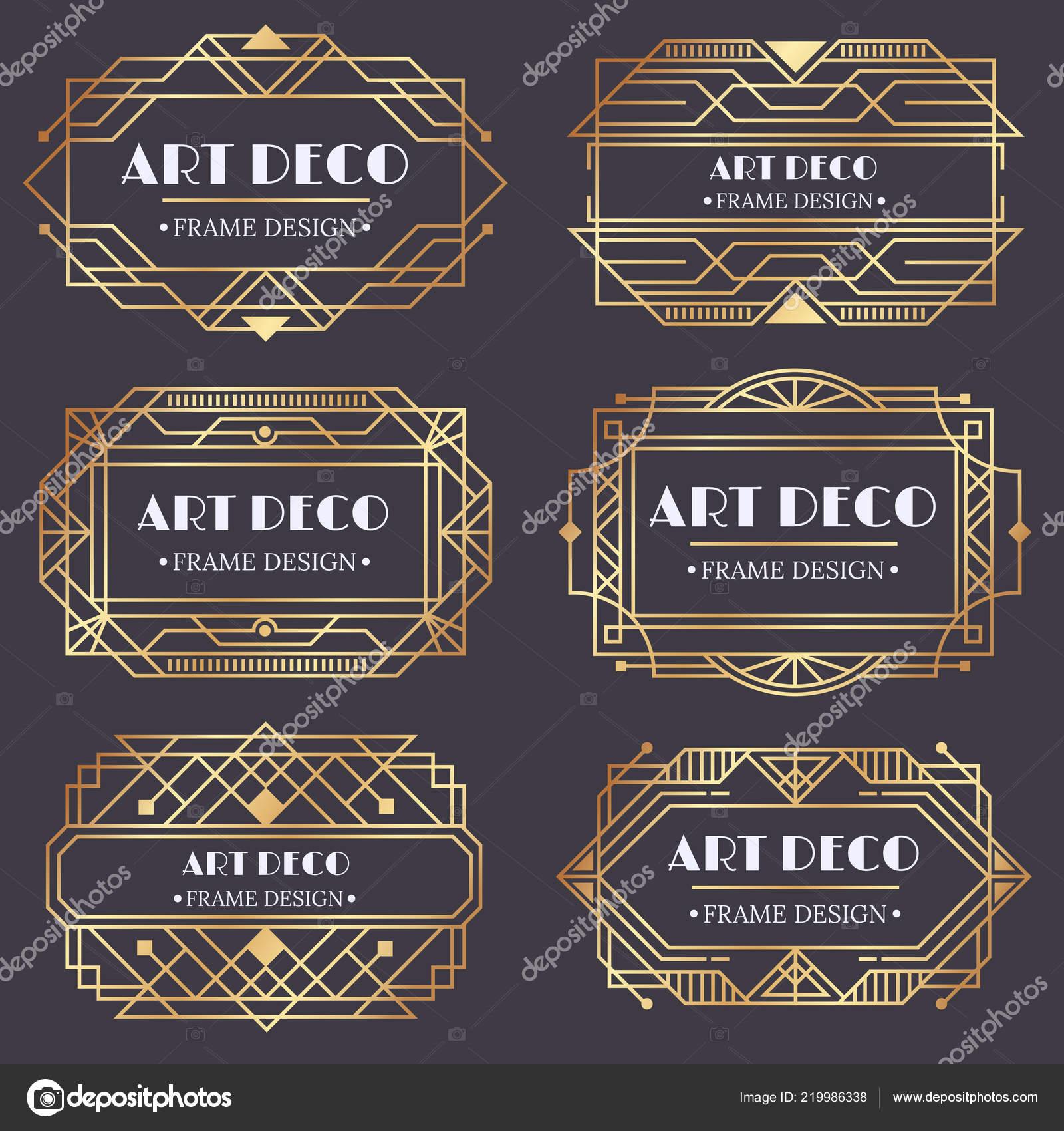 Art Déco Rahmen Antike Golden Label Design Luxus Gold