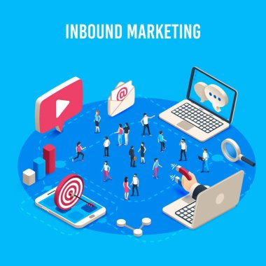 Inbound marketing isometric. Online mass market ads, business target sales ad and offline sale advancement vector concept