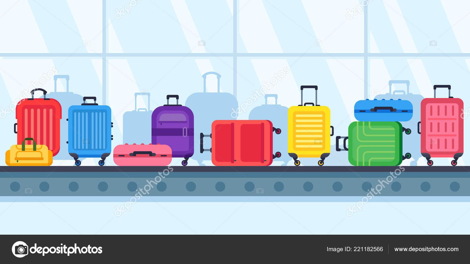 65e3f83fe2 Ιμάντες μεταφοράς αποσκευών. Βαλίτσες ταξιδίου στο αεροδρόμιο καρουσέλ  αποσκευές