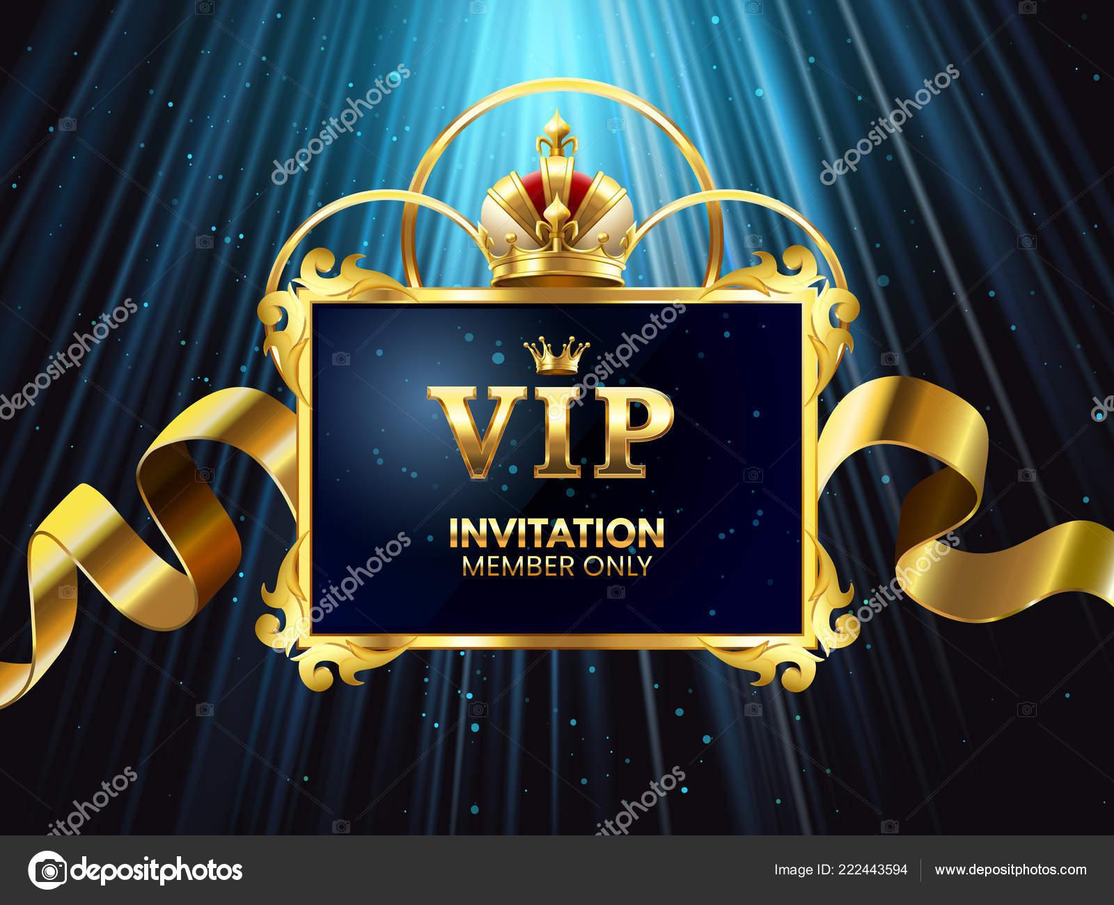 Vip Karta Pozvani Glamour Oslava Invitate Elegantni Zlata Koruna