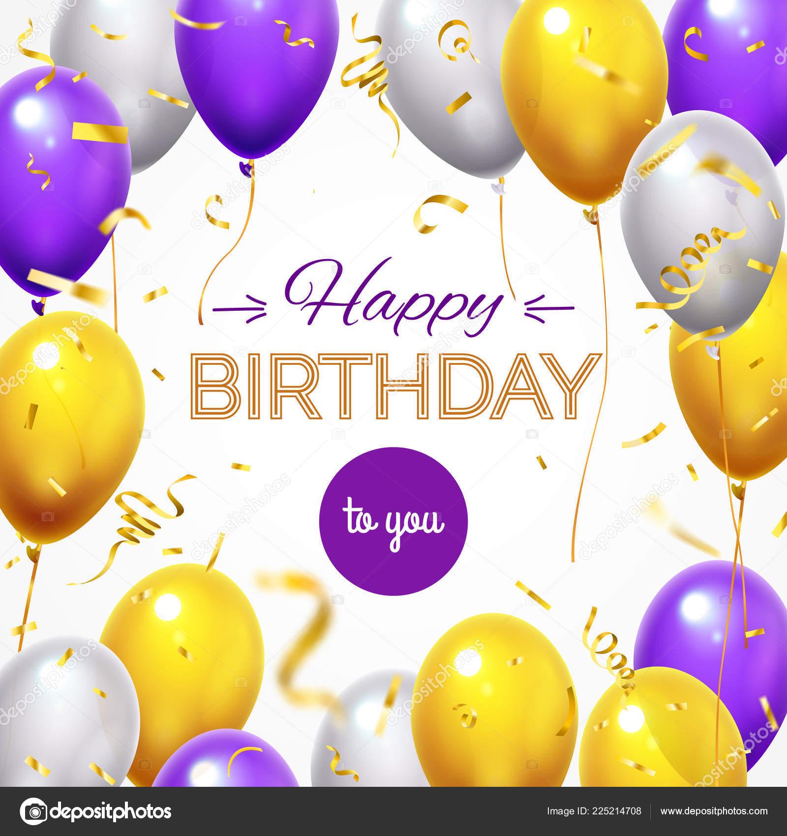 Carte Voeux Avec Des Ballons Joyeux Anniversaire Shining Vol Ballon