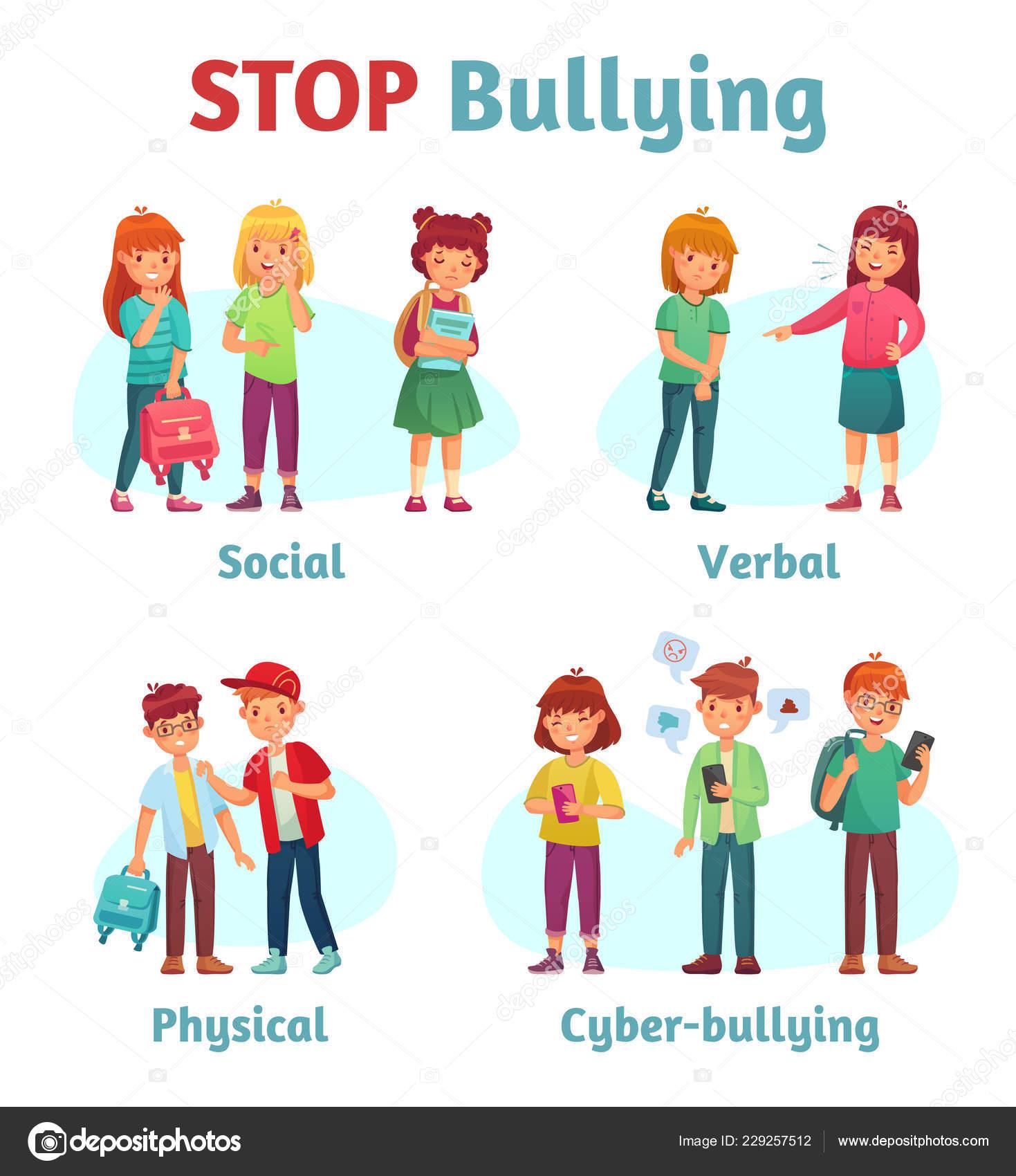 Stop Acoso Escolar Matón Adolescente Agresivo Agresión Verbal Del