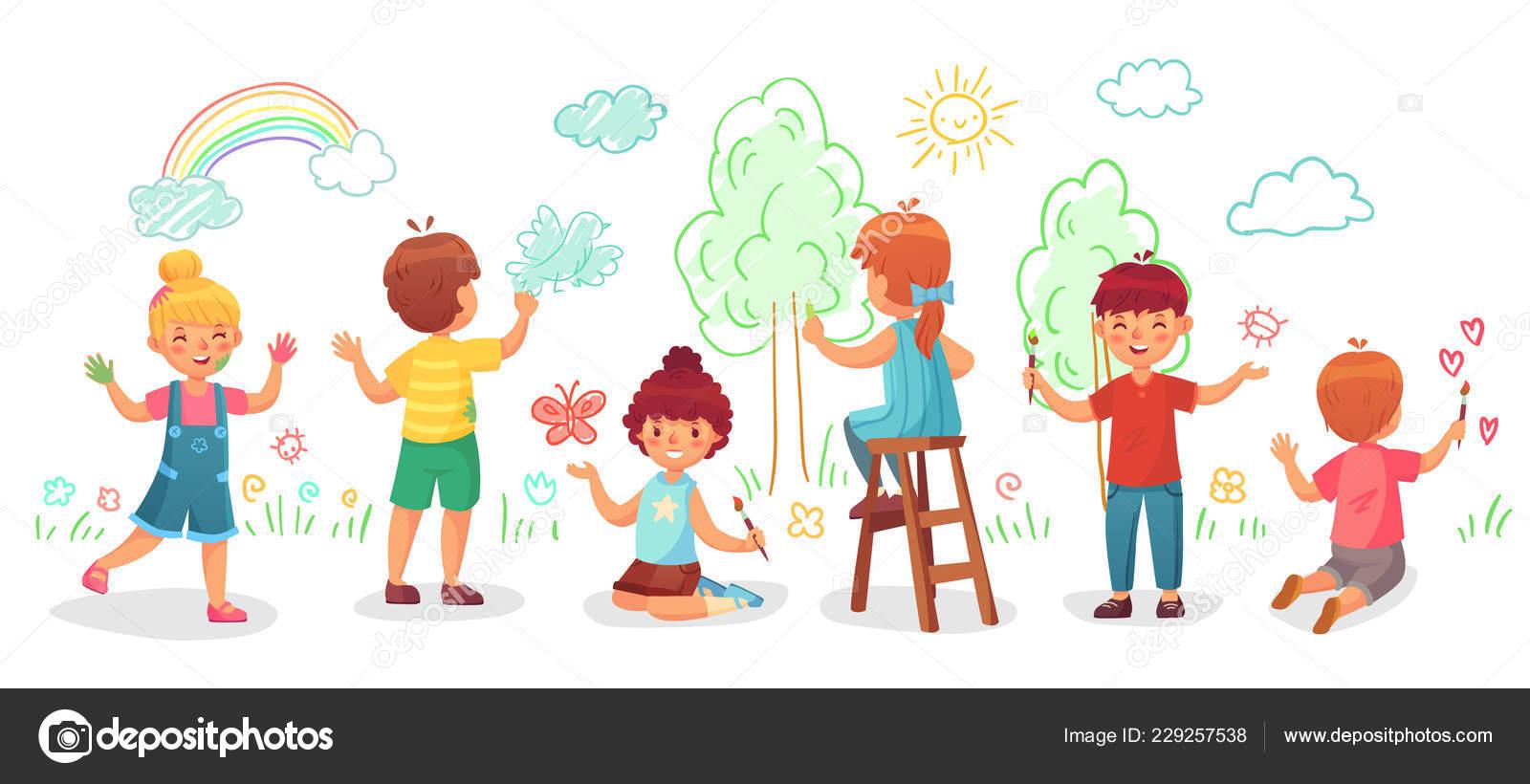 Enfants Dessin Sur Le Mur Groupe Pour Enfants Tirer Des