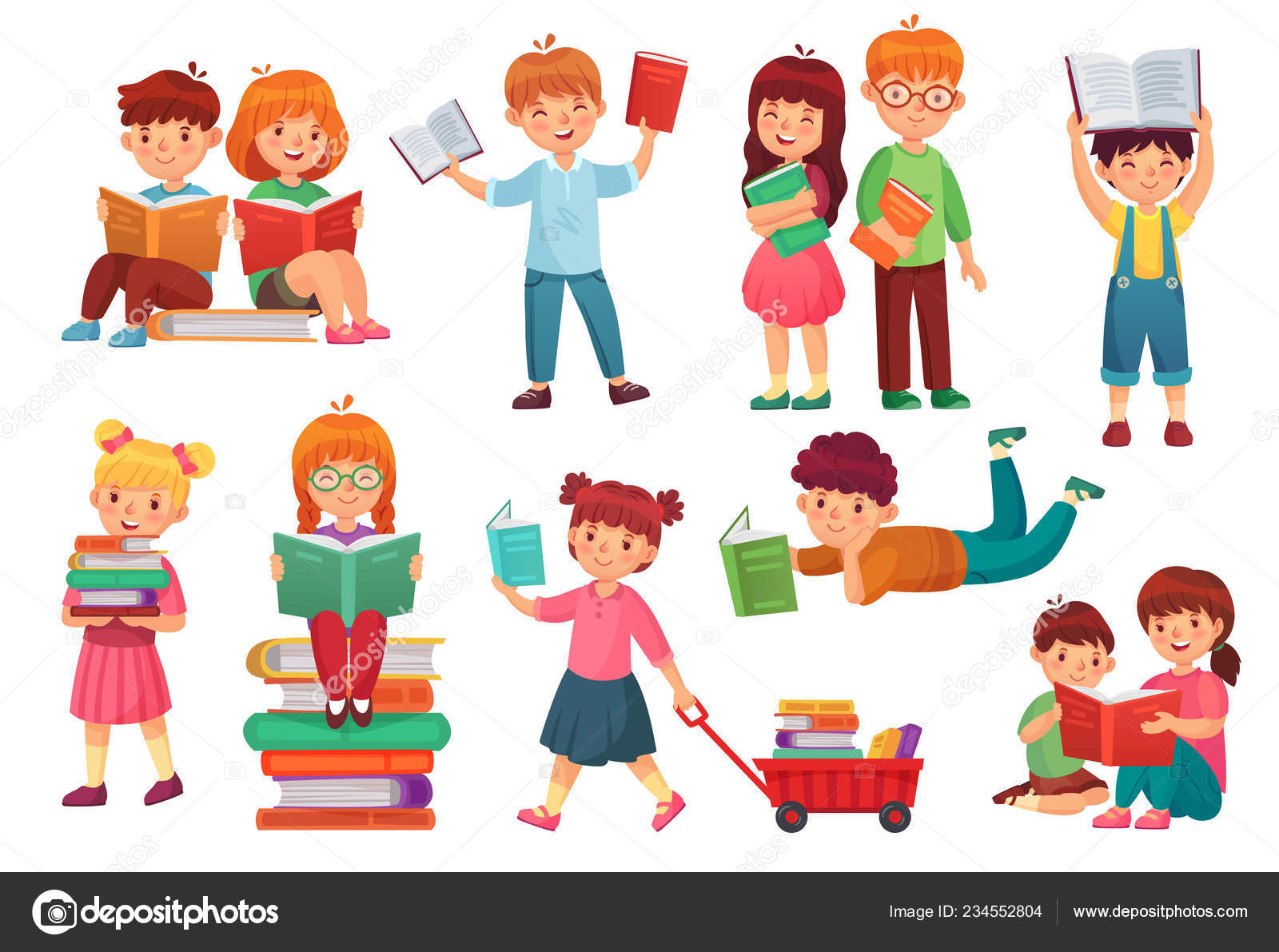 Kids Read Book Happy Kid Reading Books Girl And Boy