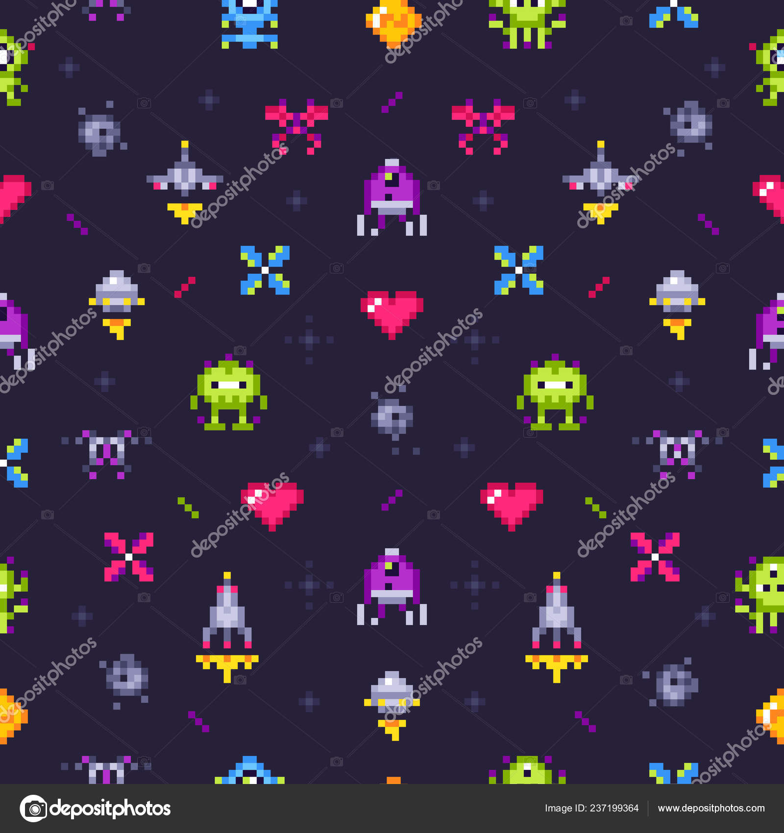 Old Games Seamless Pattern Retro Gaming Pixels Video Game And