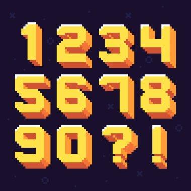 Pixel numbers. Retro 8 bit pixels number font vector illustration set