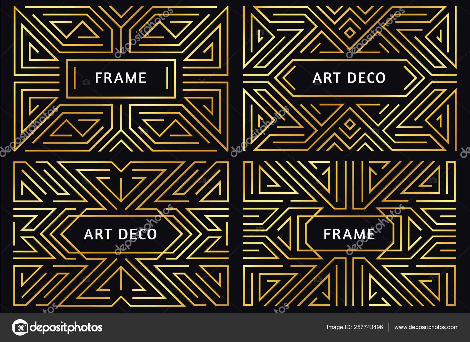 Art Deco Frames Vintage Golden Line Border Decorative Gold