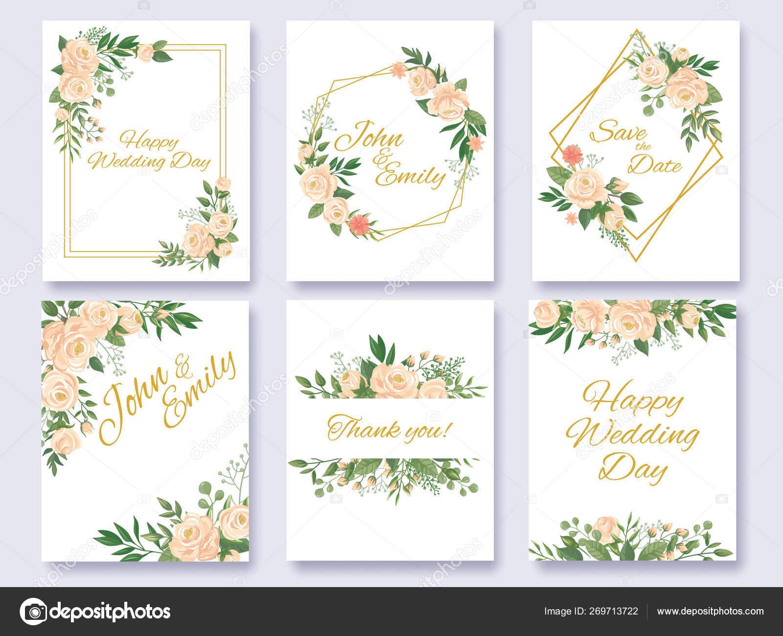 Wedding Invitation Floral Card Flowers Frames Rose Flower Frame