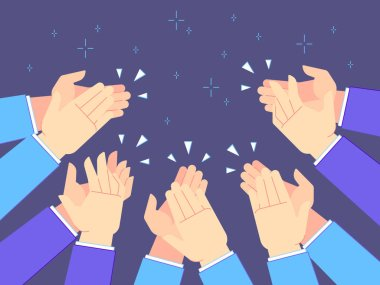 Applause hands. Hand claps, applauding congratulations and success clapping vector illustration