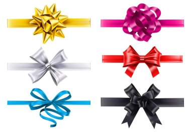 Realistic ribbons with bows. Vector bow decoration, birthday gift knot made form satin for christmas illustration icon