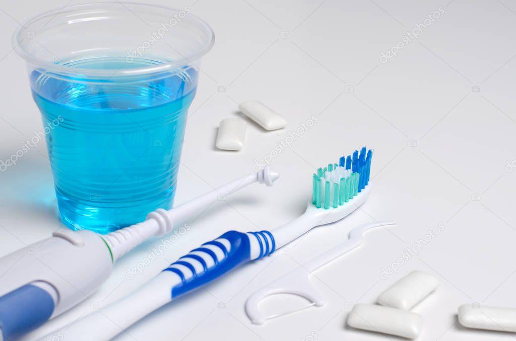 Dental oral irrigator, toothbrush, dental floss, mouthwash, bubb