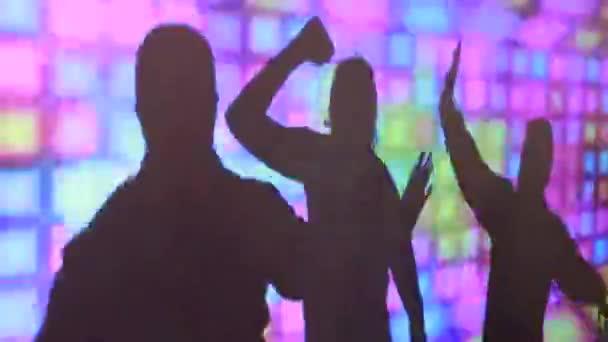 Silhouette di donne danzanti e uomini su uno schermo colorato in una discoteca durante una festa.