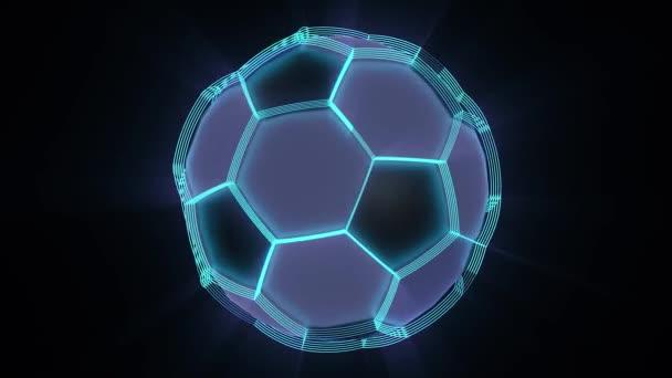 Futuristický fotbalový míč s Neónová záře. Smyčky animace. Fotbalové sítě abstraktní pozadí. 3D objem projekce.